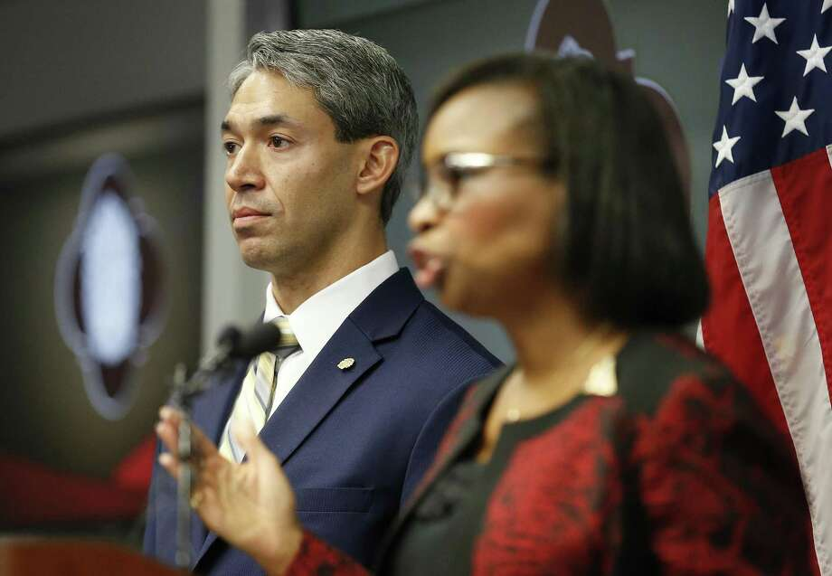 District 8 Councilman Ron Nurinberg (left) stands beside Mayor Ivy Taylor (right) as they address the media after San Antonio City Council approved the city's three SA Tomorrow plans Thursday, Aug. 11, 2016 restoring environmental proposals to the master-planning documents that were in danger of being removed but also thwarting efforts by Nirenberg to reinstate a litany of other provisions. The three documents, which address comprehensive planning, multimodal transportation and sustainability, have been in the works for more than a year. SA Tomorrow is designed to help the city prepare for an additional 1.1 million people expected to live in Bexar County by the year 2040. (Kin Man Hui/San Antonio Express-News) Photo: Kin Man Hui, Staff / San Antonio Express-News / ©2016 San Antonio Express-News