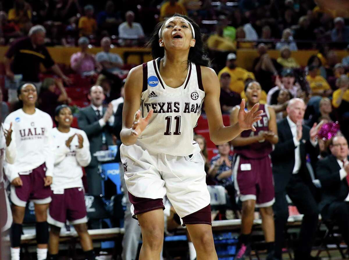 Texas A&M guard Curtyce Knox (11) reacts to a foul call during the second half of a women's first round NCAA tournament college basketball game against Arkansas Little Rock, Saturday, March 21, 2015, Tempe, Ariz. Arkansas Little Rock won 69-60. (AP Photo/Matt York)