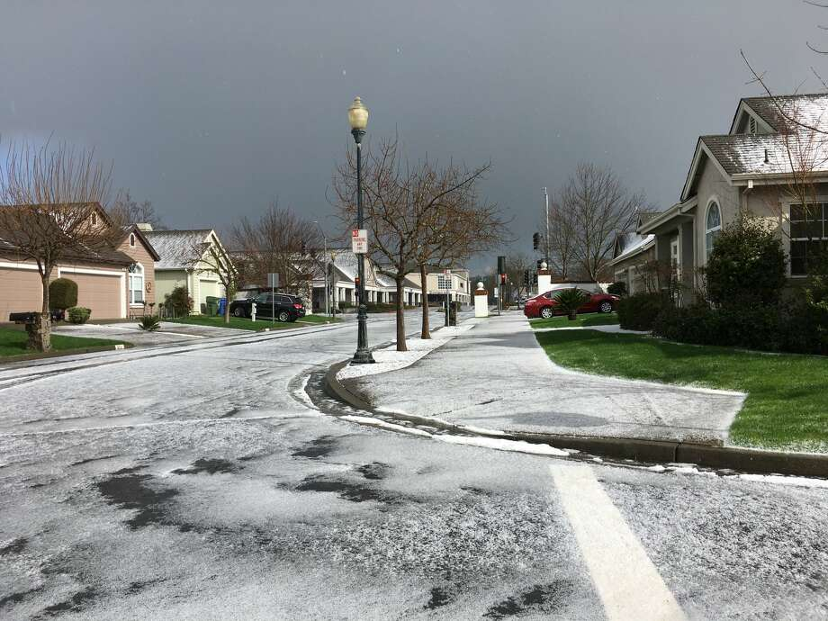 A hail storm moved through the Sonoma County town of Windsor Wednesday afternoon. Photo: Dustin Coupe/Fresco News