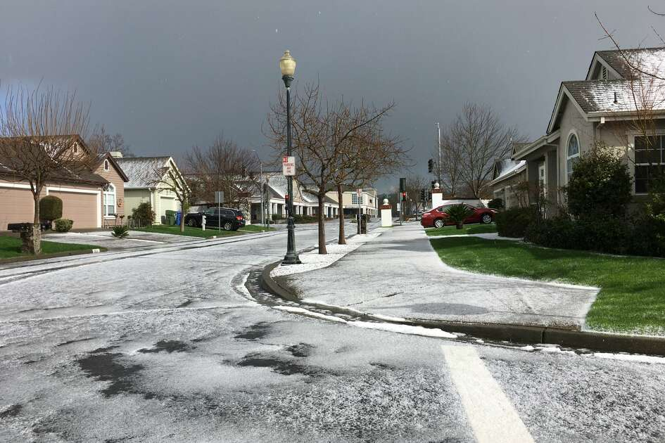 A hail storm moved through the Sonoma County town of Windsor Wednesday afternoon.
