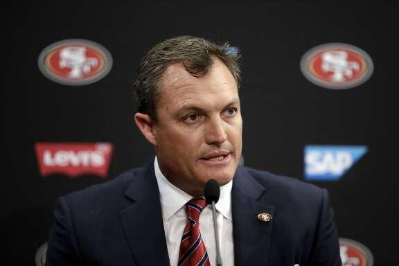 San Francisco 49ers general manager John Lynch during an NFL football press conference Thursday, Feb. 9, 2017, in Santa Clara, Calif. (AP Photo/Marcio Jose Sanchez)