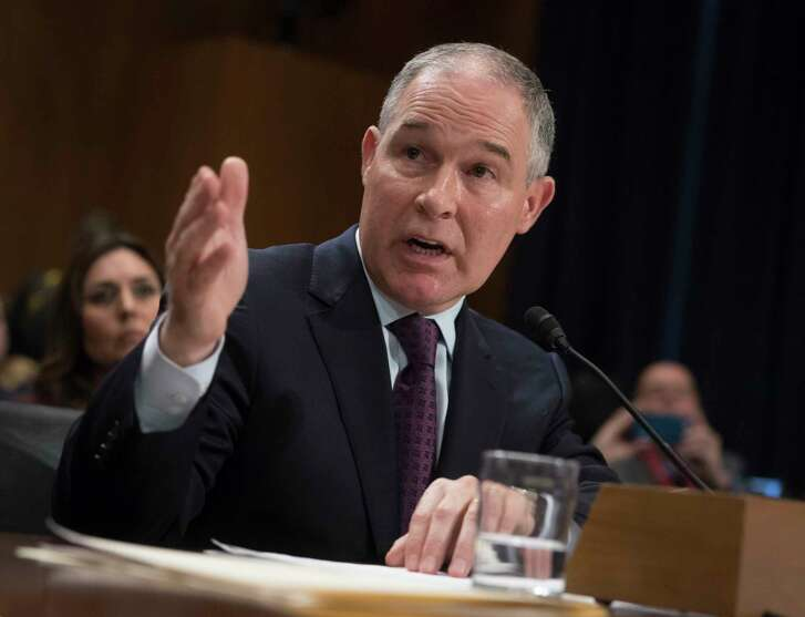 FILE - In this Jan. 18, 2017 file photo, Environmental Protection Agency Administrator-designate, Oklahoma Attorney General Scott Pruitt testifies on Capitol Hill in Washington at his confirmation hearing before the Senate Environment and Public Works Committee. Pruitt on Friday, Feb. 17, 2017, won Senate confirmation to head the EPA, a federal agency he repeatedly sued to rein in its reach during the Obama administration. (AP Photo/J. Scott Applewhite, File)
