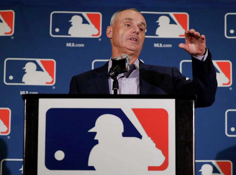 Major League Baseball Commissioner Rob Manfred answers questions at a news conference Tuesday, Feb. 21, 2017, in Phoenix. (AP Photo/Morry Gash) ORG XMIT: AZMG121 Photo: Morry Gash / Copyright 2017 The Associated Press. All rights reserved.