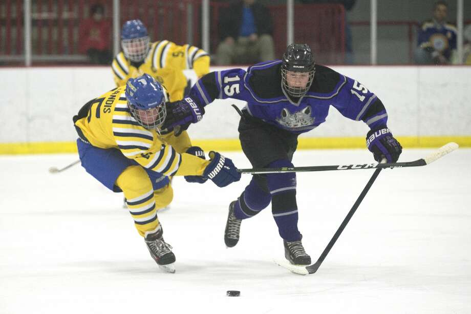 Midland's Greg Landis, left, and Bay City's Austin Lawless, right, fight for possession of the puck on Wednesday at Midland Civic Arena. Photo: Erin Kirkland/Midland Daily News