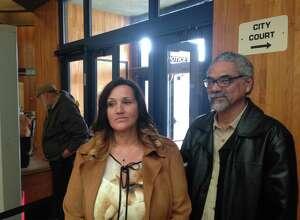 Elizabeth Araiza and Dmitri Houff on Wednesday, Feb. 22, 2017, in Schenectady County Court. (Paul Nelson/Times Union)