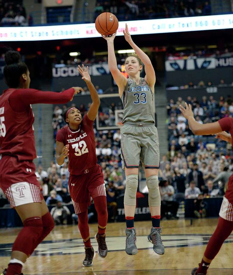 Connecticut's Katie Lou Samuelson (33), shoots next to Temple's Donnaizha Fountain (32) during the second half of an NCAA college basketball game, Wednesday, Feb. 22, 2017, in Hartford, Conn. (AP Photo/Jessica Hill) ORG XMIT: CTJH109 Photo: Jessica Hill / AP2017