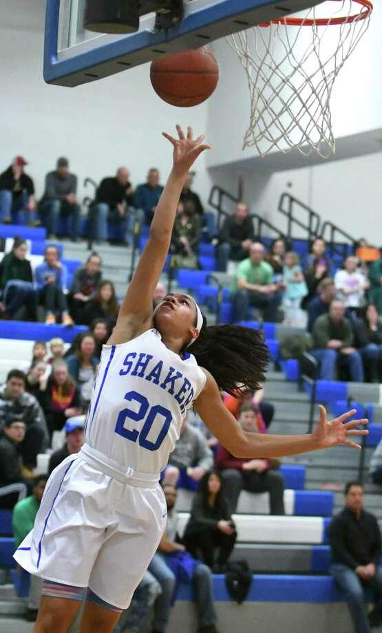 Shaker's Shyla Sanford breaks free and makes a layup during a Class AA girls' basketball game against Troy on Wednesday, Feb. 22, 2017 in Latham, N.Y. (Lori Van Buren / Times Union) Photo: Lori Van Buren / 40039752A