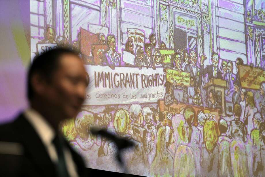 Jeff Adachi gave a speech to open a public forum to address how San Francisco can provide lawyers to help immigrants fight deportation and how the public can help at the San Francisco Public Library in San Francisco, Calif., on Wednesday, February 22, 2017. The San Francisco Public Defender's Office sponsored the forum and SF Public Defender Jeff Adachi moderated the panel discussion. Photo: Carlos Avila Gonzalez, The Chronicle