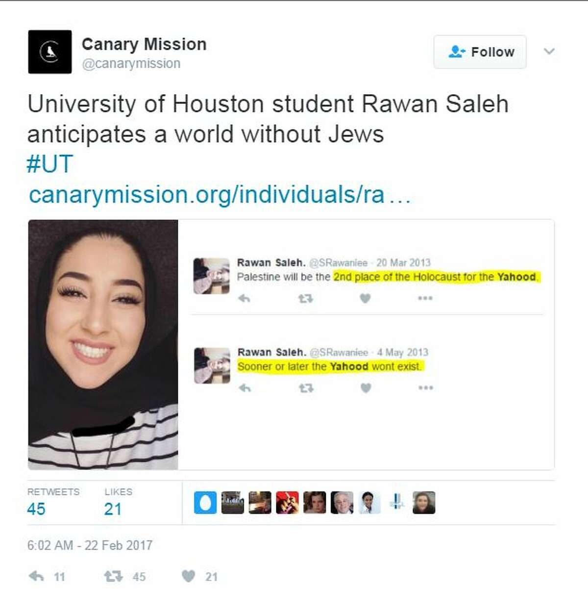 Texans called out by Canary Mission for making anti-Semitic comments.