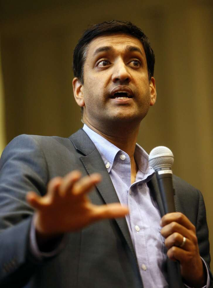 US Rep. Ro Khanna speaks while holding a town hall meeting at Ohlone College in Fremont, Calif., on Wednesday, February 22, 2017.