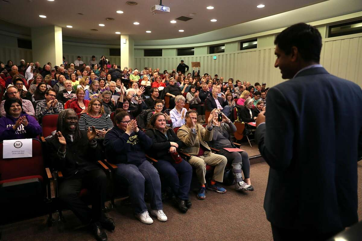 """Rep. Ro Khanna at a town hall in Fremont on February 22, 2017. Khanna and Rep. Beto O'Rourke, D-Texas, have introduced the """"No PAC Act."""""""