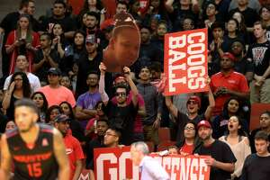 University of Houston fans cheer for their team leading the game during the second half of the game Wednesday, Feb. 22, 2017, in Houston. Houston Cougars beat the Connecticut Huskies 75-70. ( Yi-Chin Lee / Houston Chronicle )