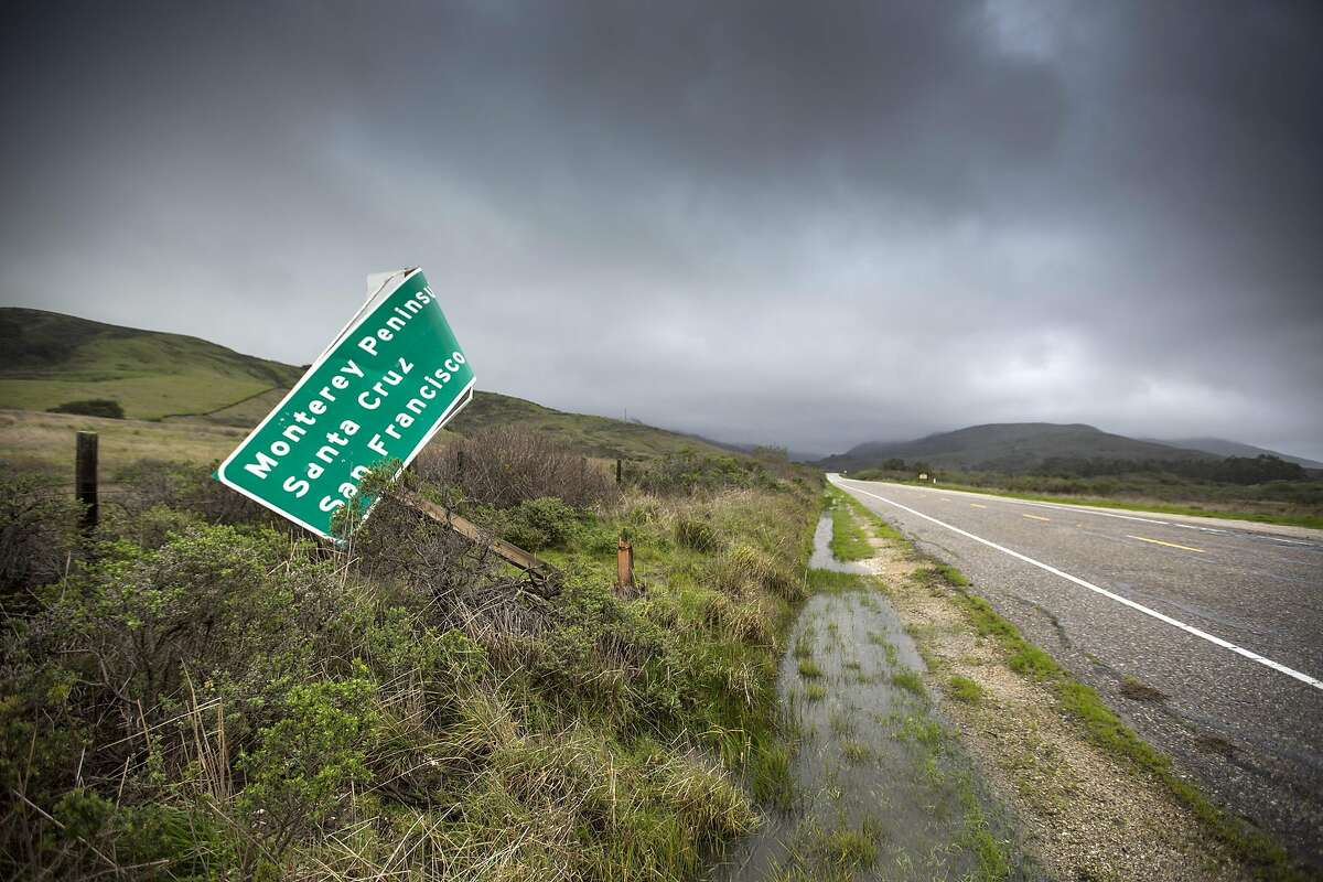 Sign blown over along hwy 1 Big Sur, CA.