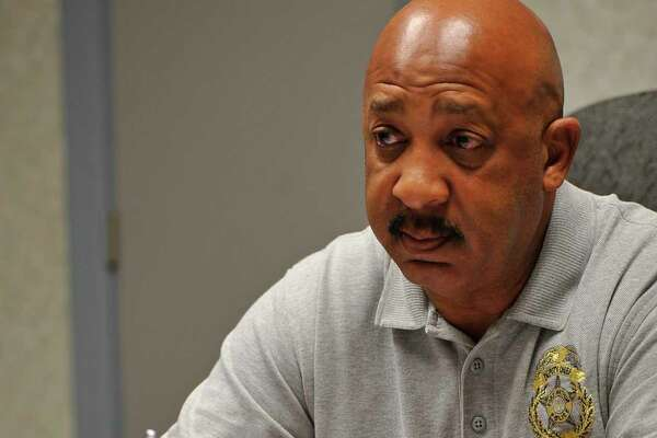 """Port Arthur Police Department Deputy Chief of Criminal Investigations, Raymond Clark, talks about the two shootings, one at the Prince Hall Apartment Complex in Port Arthur and the other, an earlier one, at the Old School Shack Lounge where Marcus John """"Big Country"""" Senegal died.   Dave Ryan/The Enterprise"""