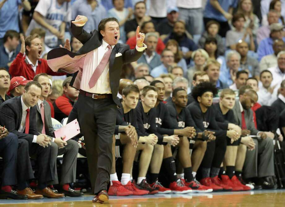 CHAPEL HILL, NC - FEBRUARY 22:  Head coach Rick Pitino of the Louisville Cardinals yells to his team during their game against the North Carolina Tar Heels at the Dean Smith Center on February 22, 2017 in Chapel Hill, North Carolina. Photo: Streeter Lecka, Getty Images / 2017 Getty Images