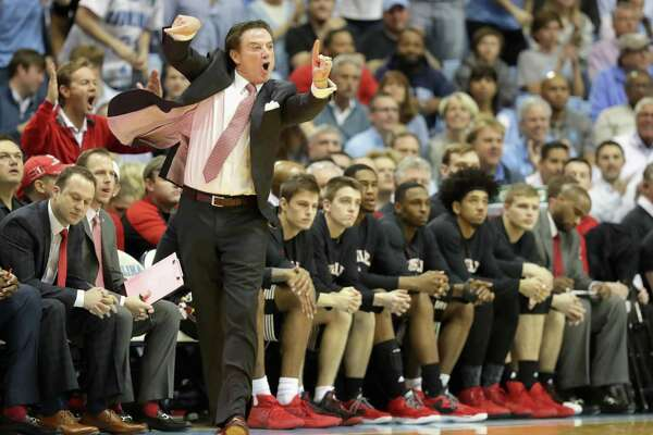 CHAPEL HILL, NC - FEBRUARY 22:  Head coach Rick Pitino of the Louisville Cardinals yells to his team during their game against the North Carolina Tar Heels at the Dean Smith Center on February 22, 2017 in Chapel Hill, North Carolina.