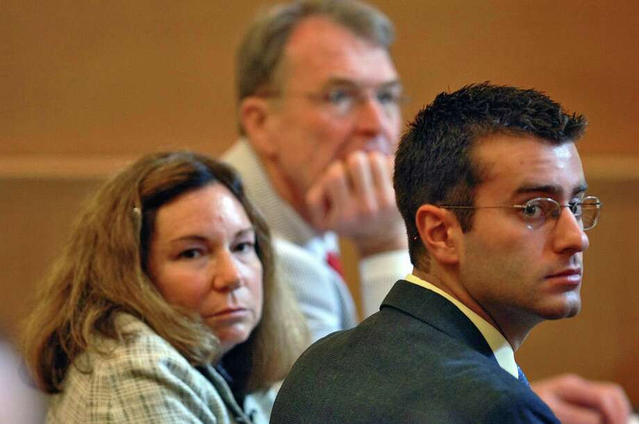 In this July 10, 2006 file photo, Christopher Porco, right, and his attorneys Terence Kindlon, left, and Laurie Shanks, center, are shown during his trial in the Orange County Courthouse in Goshen, N.Y. (AP Photo/Philip Kamrass, Pool, File) Photo: Philip Kamrass / POOL AP