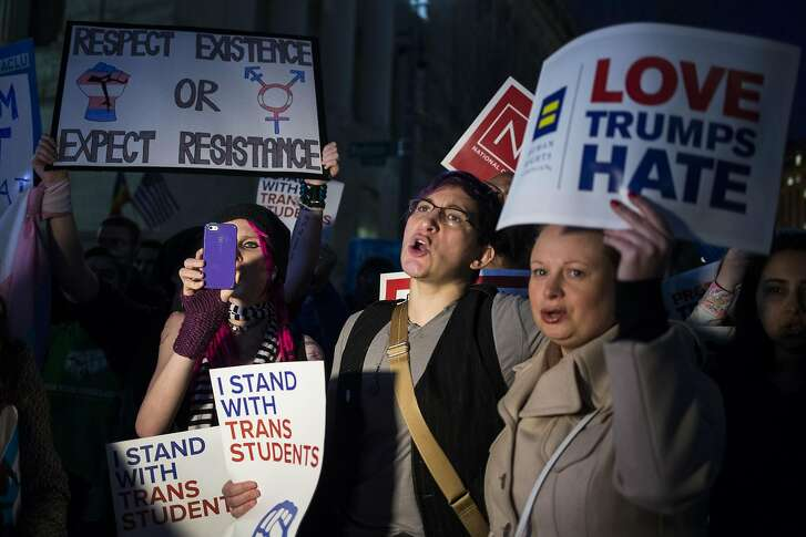 People gather outside of the White House in Washington during a protest against President Donald Trump�s plan to rescind anti-discrimination protections for transgender students, Feb. 22, 2017. (Al Drago/The New York Times)