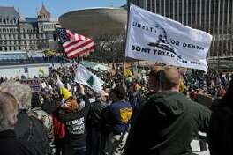 Second Amendment advocates rally against the NY SAFE Act at the Empire State Plaza Tuesday, April 1, 2014, in Albany, N.Y. (Lori Van Buren, Times Union)