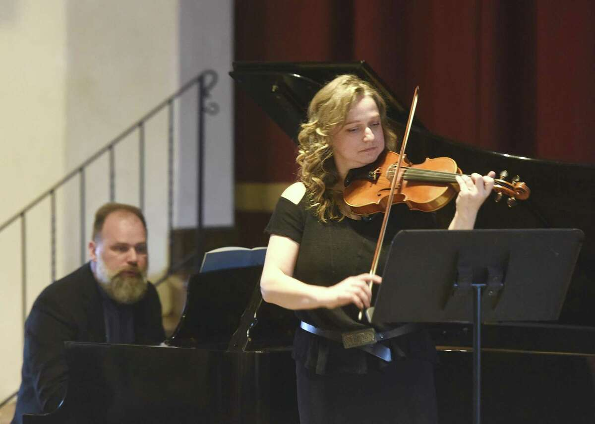 Violinist Edita Orlinyte and pianist Rimantas Vingras perform during Sunday Afternoons Live at First Congregational Church of Old Greenwich in Old Greenwich, Conn. Sunday, Feb. 19, 2017. In the first Sunday Afternoons Live performance of the season, the Lithuanian duo of Orlinyte and Vingras captivated listeners with music from Bach, Chausson, Ciurlionis and Markov. The concerts continue on Feb. 26 with a performance from jazz saxophonists Peter and Will Anderson.