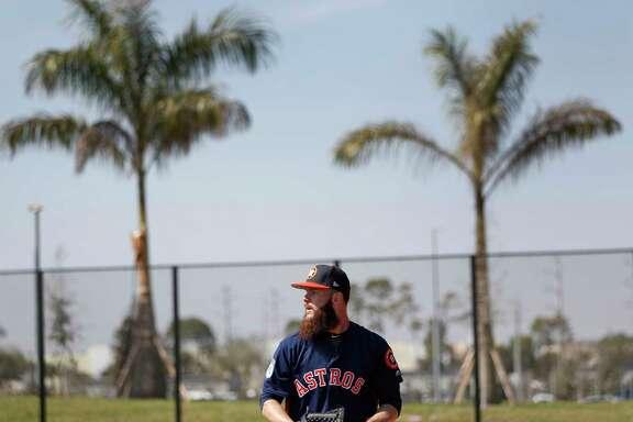 Houston Astros starting pitcher Dallas Keuchel throws off the mound during spring training at The Ballpark of the Palm Beaches, in West Palm Beach, Florida, Friday, February 17, 2017. ( Karen Warren / Houston Chronicle )