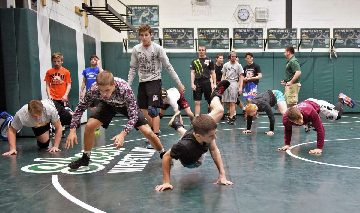 Section II, Div. 2 wrestlers practice at Shenendehowa High Thursday Feb. 16, 2017 in Clifton Park, NY. (John Carl D'Annibale / Times Union)