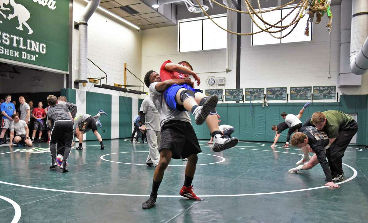 Section II, Div. I wrestlers practice at Shenendehowa High Thursday Feb. 16, 2017 in Clifton Park, NY. (John Carl D'Annibale / Times Union)