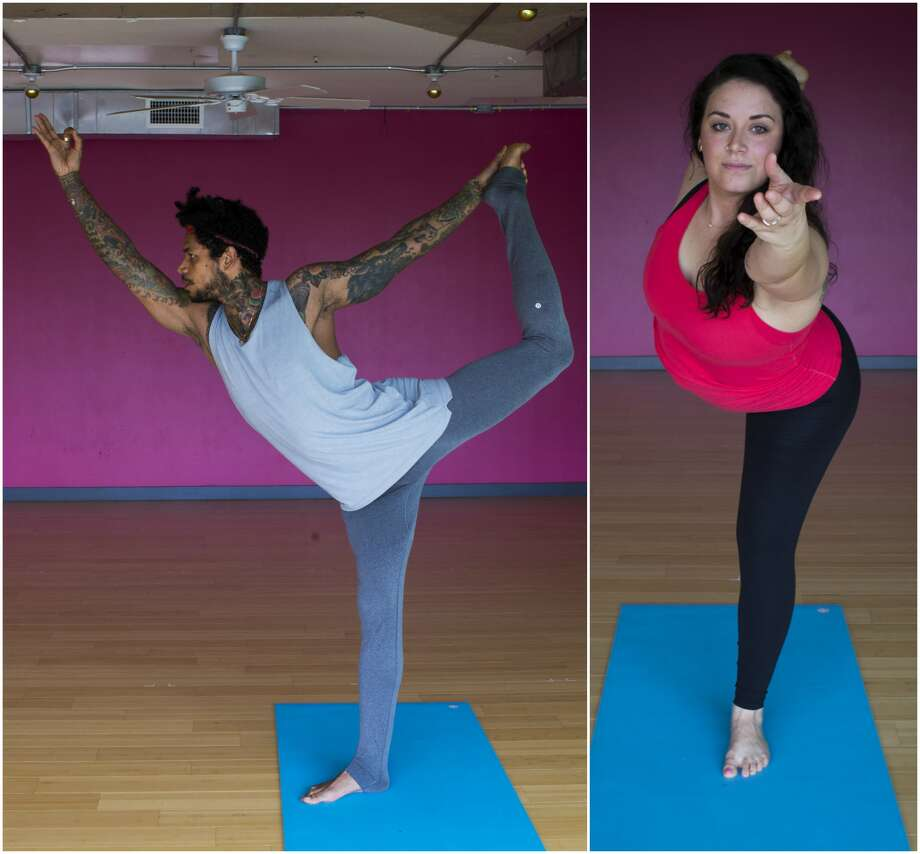 Today's #ChronFit Challenge pose of the day is Dancer, demonstrated by Juan Valentine on the left and Brit Gomez on the right. Both yogis are instructors at BIG Power Yoga. For more views of Dancer, scroll through the slideshow. ( Marie D. De Jesus / Houston Chronicle )