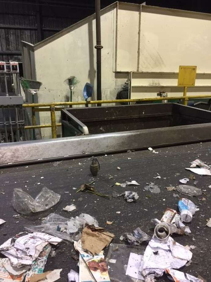 A San Leandro recycling center had to be evacuated Thursday morning after staff found a hand grenade on a conveyer belt, police said. Photo: San Leandro Police Department / / San Leandro Police Department /
