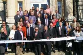 Cutting the ribbon to open my new regional office in Johnstown at the County Office Building.