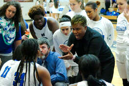 Clear Springs girls basketball coach Pam Crawford fires up her team during a break against Pearland Tuesday, Feb. 21 at Dawson High School.