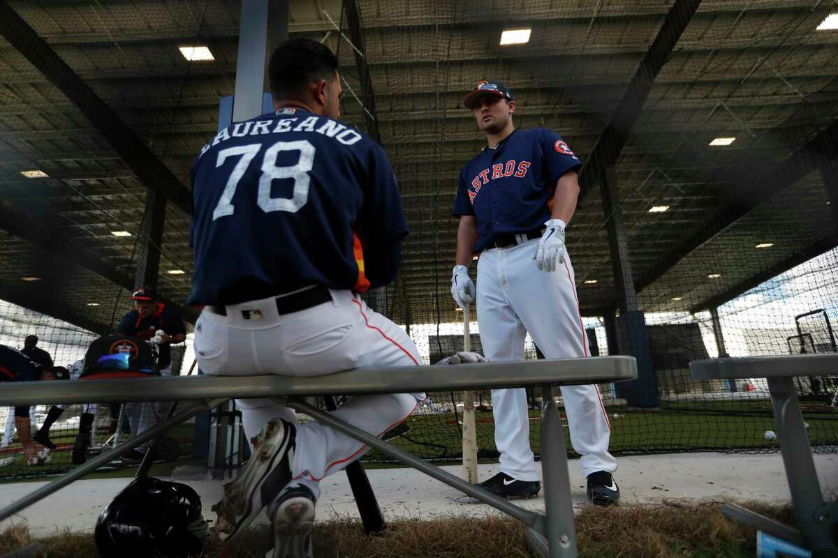 Houston Astros Ramon Laureano (78) and J.D. Davis (73) chat in the batting cages during spring training at The Ballpark of the Palm Beaches, in West Palm Beach, Florida, Thursday, February 23, 2017.