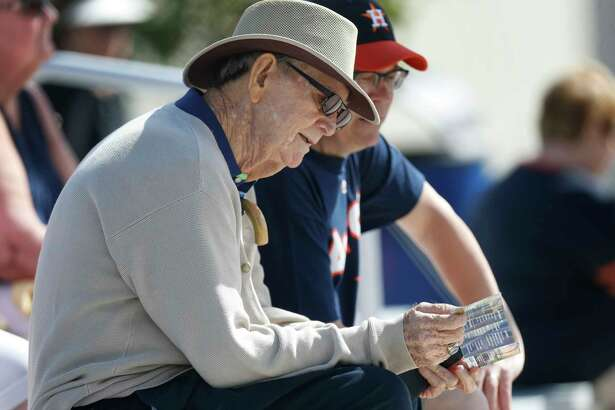 "J. W. ""Jay"" Porter, 84, a former Major League Baseball player who played for the St. Louis Browns, Detroit Tigers, Cleveland Indians, Washington Senators, and St. Louis Cardinals, visited Houston Astros during spring training at The Ballpark of the Palm Beaches, in West Palm Beach, Florida, Thursday, February 23, 2017."