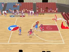 "A screenshot from the ""Draymond Green's Shut Up and Slam Jam Karate Basketball"" video game."