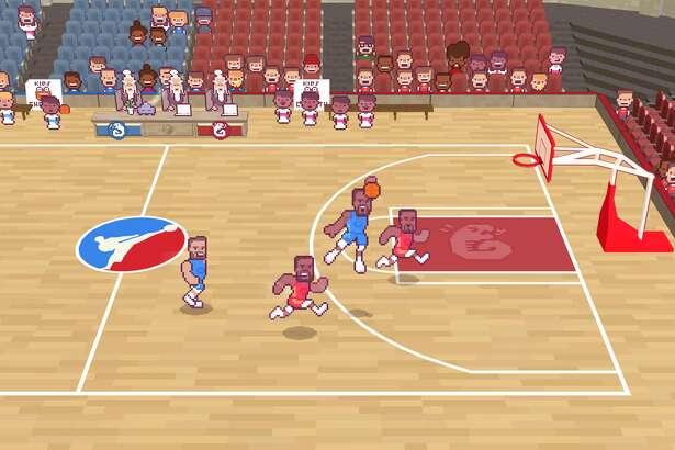 "A screenshot from the ""Draymond Green's Shut Up and Slam Jam Karate Basketball"" video game."