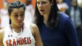 Bears coach Jennifer Brewer encourages Allie Serrato as Brandeis plays Steele in class 6A third round playoff action at UTSA on February 21, 2017.
