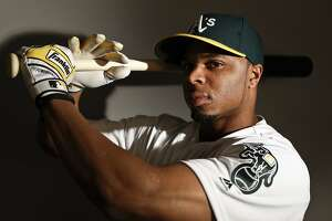 This is a 2017 photo of center fielder Rajai Davis of the Oakland Athletics baseball team poses for a portrait. This image reflects the Athletics active roster as of Wednesday, Feb. 22, 2017, when this image was taken. (AP Photo/Chris Carlson)