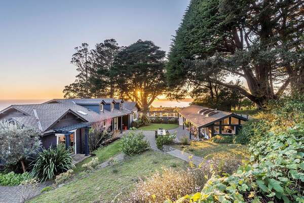 The stylish view home sits on a 1.1-acre lot in Stinson Beach.�