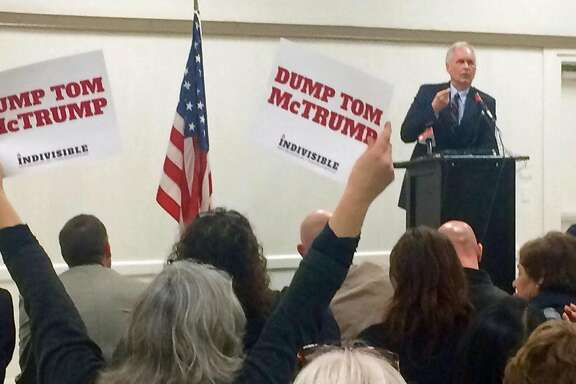 Rep. Tom McClintock, R-Elk Grove, speaks at a town hall meeting about controversial Republican proposals in Congress and actions by President Donald Trump on health care, immigration and the environment, on February 21, 2017, in Mariposa, Calif. (Mark Z. Barabak/Los Angeles Times/TNS)