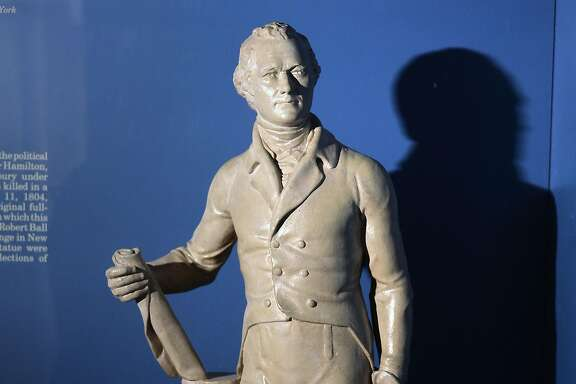 A small copy of Robert Ball Hughes' full size statue of Alexander Hamilton on display at the Visitor's Center at Schuyler Mansion Thursday Jan. 28, 2016 in Albany, NY. The original statue was destroyed in a fire in 1836.  (John Carl D'Annibale / Times Union)
