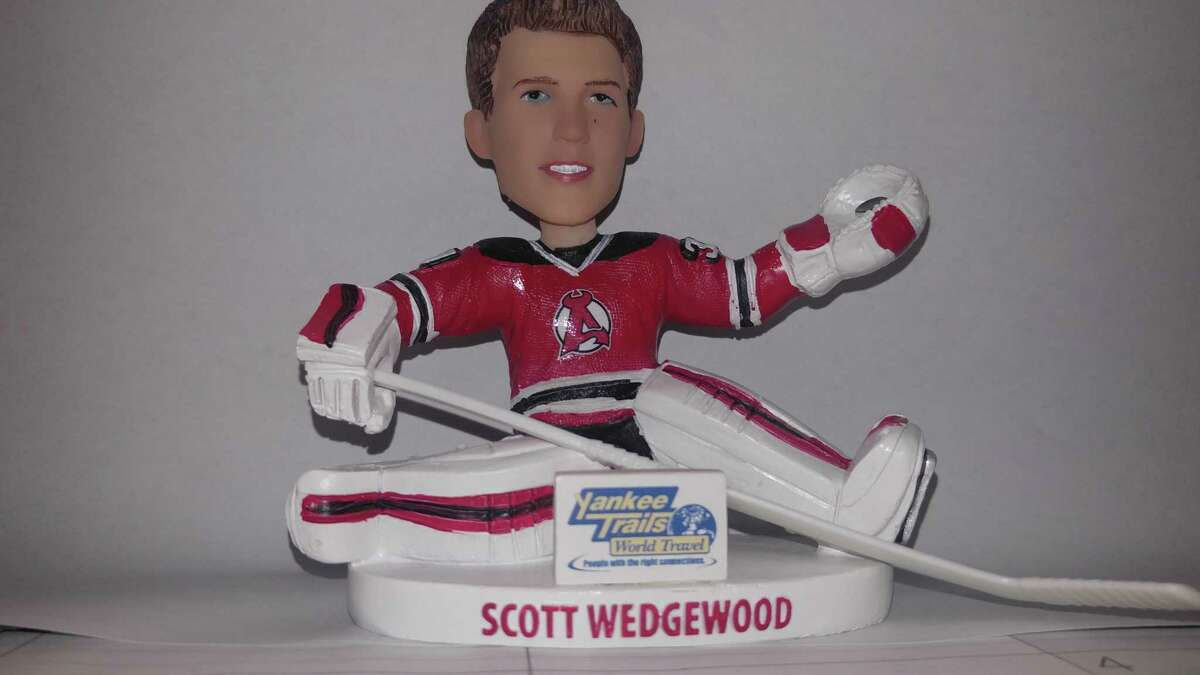 The Scott Wedgewood bobblehead, given away at an Albany Devils game Saturday, Feb. 18, 2017. (Pete Dougherty/Times Union)