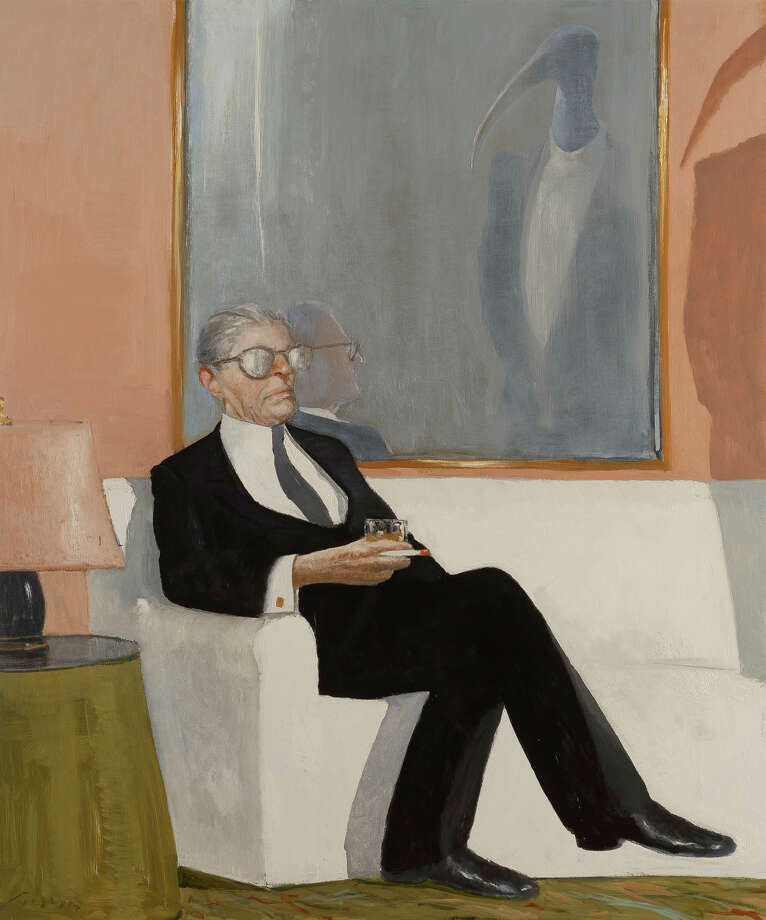 """A Man and His Drink"" by Julio Larraz Photo: Art Of The World Gallery"