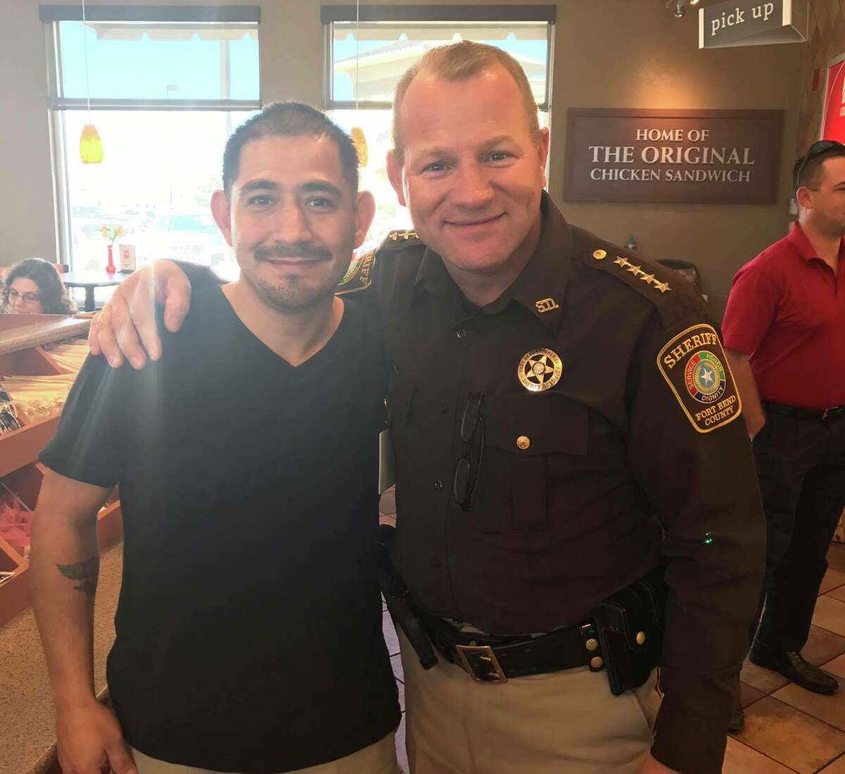 Louis Palacios, left, said he is grateful to Sheriff Troy Nehls, who used the Heimlich maneuver to save Palacios from choking at the Rosenberg Chick-Fil-A on Feb. 22, 2017.