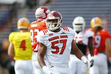 North squad inside linebacker Haason Reddick of Temple (57) practices for Saturday's Senior Bowl college football game in Mobile, Ala., Wednesday, Jan. 25, 2017. (AP Photo/Brynn Anderson)