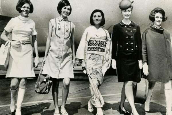 "From the photo: Airlines are getting away from the traditional stewardess uniforms as these girls attest. Left to right are, Jeanne Kendall, American Airlines,  Mary Anne Touhy, Western Airlines, Junko Kawai, Japan Airlines, Sherron Goldizen, Continental Airlines and Bonnie Campbell, American Airlines. The stewardesses are all for the change. Said one, ""We don't feel out of style any more now."" Photo courtesy of AP.  March 23, 1967"