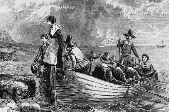 Landing of the Pilgrims at Plymouth Rock.
