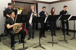 New Canaan resident Luke Koppenheffer, center, plays the trumpet in the King School Jazz Studio Orchestra. The junior's musical group placed 9th out of 16 in their division at the Berklee College of Music's Jazz Festival Feb. 10-12 in Boston, Mass.