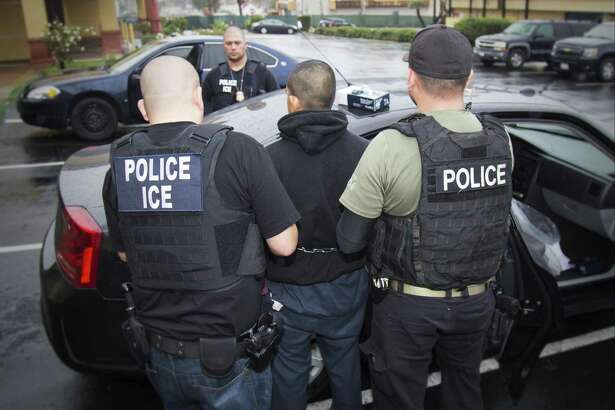 An arrest is made Feb. 7 during a targeted enforcement operation conducted by U.S. Immigration and Customs Enforcement (ICE). It was, the agency said, aimed at immigration fugitives, re-entrants and at-large criminal aliens in Los Angeles. But the Trump administration's new enforcement priorities are creating fears of mass deportations, targeting immigrants who aren't criminals.