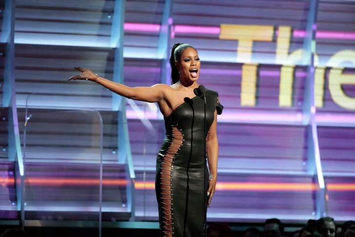 Laverne Cox on stage during the 59th Annual Grammy Awards at Staples Center Sunday, Feb. 12, 2017 in Los Angeles. (Robert Gauthier/Los Angeles Times/TNS)