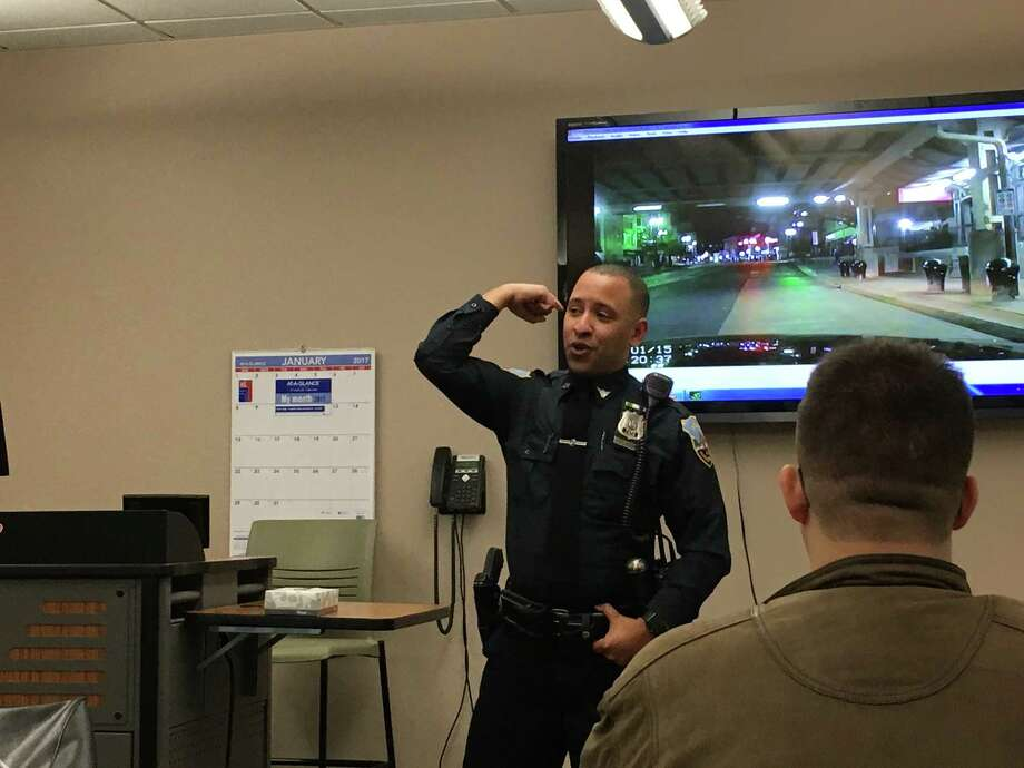 Schenectady police Officer Mark Weekes speaks to Schenectady County Community College students on Feb. 22, 2017, about the brutal assault he survived on Aug. 1, 2015 while on duty. (Emily Masters / Times Union)